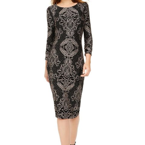Betsy & Adam Womens Sheath Dress Gold Black Size 8 Glitter-Paisley