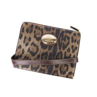 Cavalli Brown Leopard Print Leather Ipad Case Shoulder Strap - Small