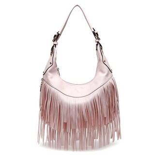 Style Strategy Bella Fringe Hobo Bag  Light Pink