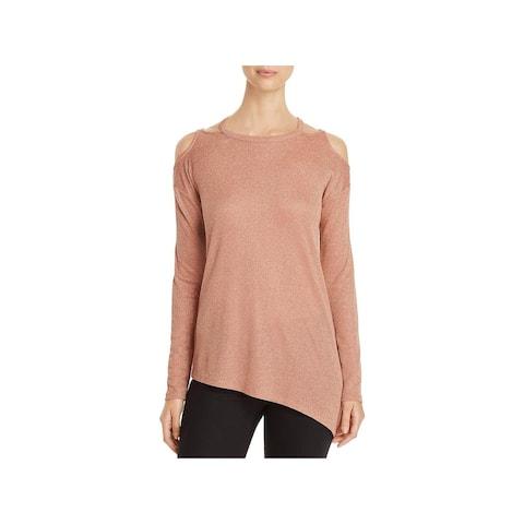 Love Scarlett Womens Pullover Sweater Cut-Ou Asymmetric - Pink Gold - M