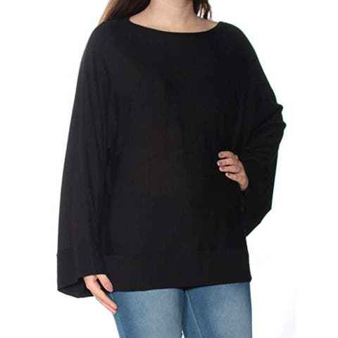 Lauren by Ralph Lauren Women's Boat Neck Kimono Sweater, Black, X-Large
