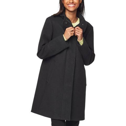 Cole Haan Womens Grand Series Coat Winter Wool Blend - Black