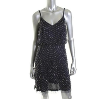 Adrianna Papell Womens Cocktail Dress Embellished Mesh Spaghetti Straps - 10