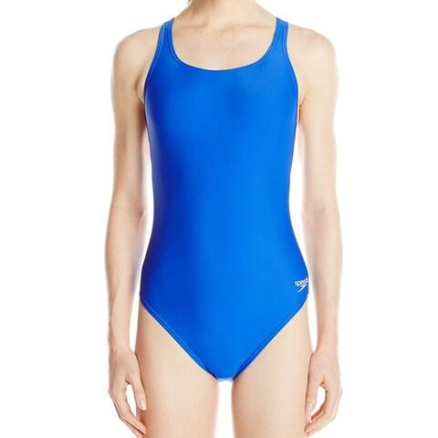 Speedo Sapphire Blue Women's Size 6 One-Piece Open-Back Solid Swimwear