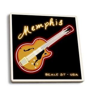 Memphis, TN - Neon Guitar Sign - LP Artwork (Set of 4 Ceramic Coasters)