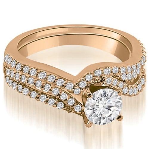 1.03 cttw. 14K Rose Gold Twisted Split Shank Round Cut Diamond Bridal Set
