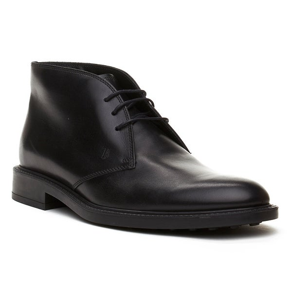 Tod's Men's Leather Chukka Desert Boots Shoes Black