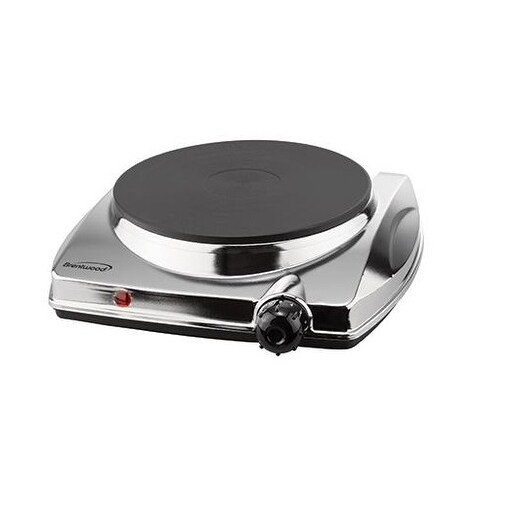 Brentwood Ts-337 1000W Electric Hotplate - Non-Slip Feet - Silver