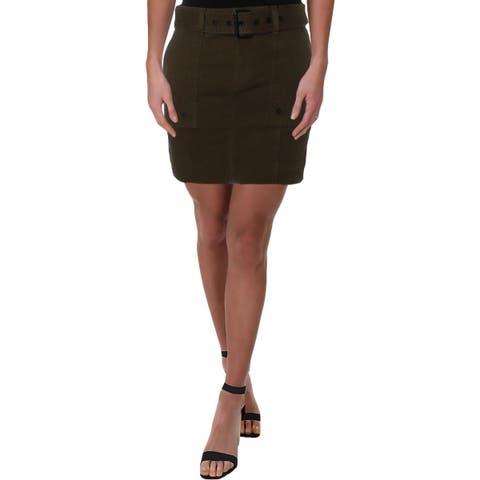 DL1961 Womens Parker Cargo Skirt Belted Mini