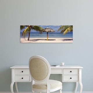 Easy Art Prints Panoramic Images's 'Sunshade on the beach, La Boca, Cuba' Premium Canvas Art
