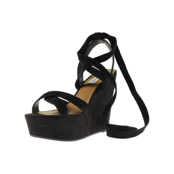 Steve Madden Womens Tynte Wedge Sandals Suede Crisscross - 10 medium (b,m)
