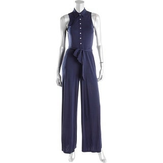 Lauren Ralph Lauren Womens Petites Jumpsuit Sleeveless Wide Leg