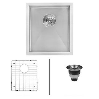 "Ruvati RVH7111  Nesta 16"" Undermount Single Basin 16 Gauge Stainless Steel Kitchen Sink with Basin Rack and Basket Strainer"