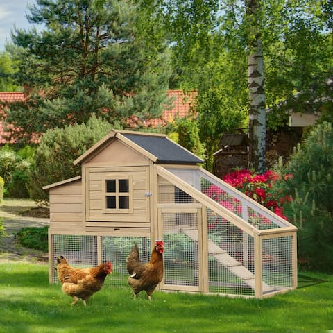 """PawHut 69"""" Outdoor Wooden Chicken Coop Hen House with Nesting Box and Run"""