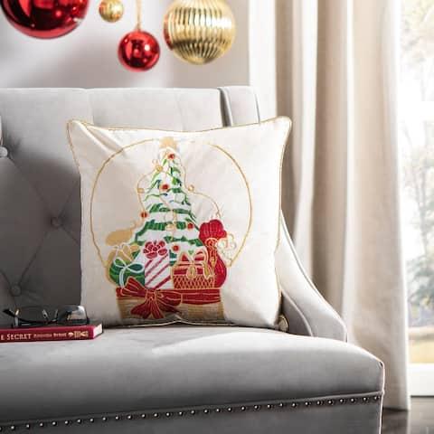 SAFAVIEH Holiday Junie Beige/Red 18-inch Decorative Pillow