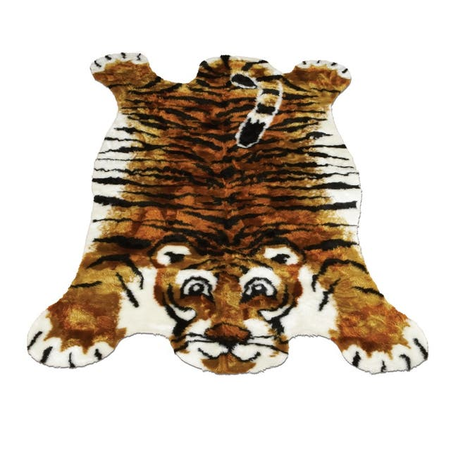 "Walk on Me Kids Playmat Animal Faux Fur/ Faux Sheepskin Machine Washable Area Rug - 4'7"" x 6'7"" - Tiger"