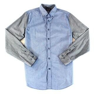 Nautica NEW Blue Mens Size Medium M Slim Fit Woven Button Down Shirt