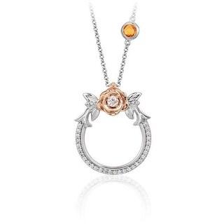 Enchanted Disney Fine Jewelry 14KWP 0.2CT Belle Rose 18 in. Pendant