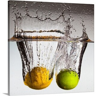 Premium Thick-Wrap Canvas entitled Lemon and lime falling in water. (5 options available)