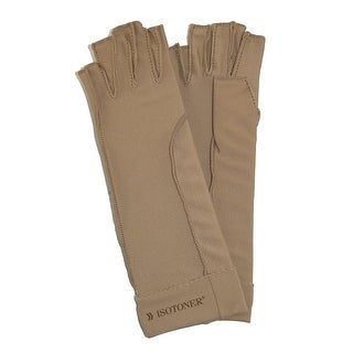 Isotoner Therapeutic Compression Fingerless Gloves (Pack of 2), Tan - camel tan