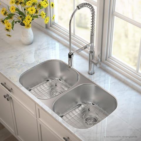 KRAUS MicroShield Stainless Steel 32 in 2-Bowl Undermount Kitchen Sink