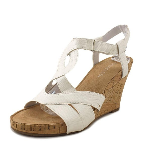 4b51832c9d4c Shop Aerosoles Wonderplush Women Open Toe Synthetic White Wedge ...