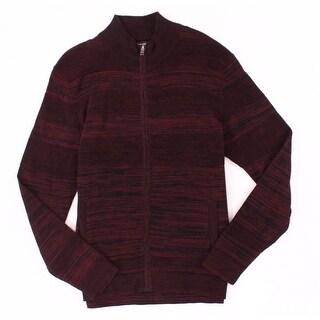 Alfani Port Red Mens Size Large L Full Zip Front Cardigan Sweater