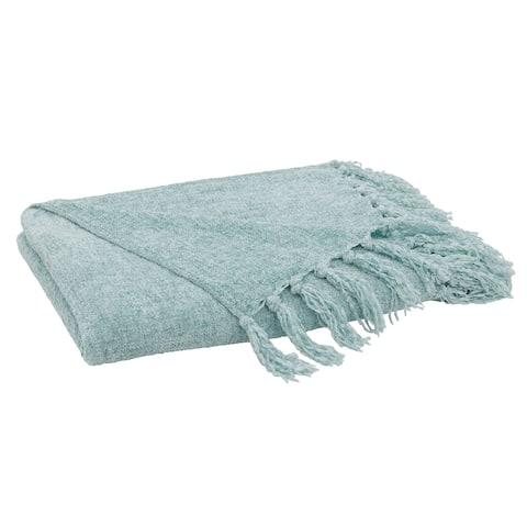 Fringe Design Chenille Throw Blanket