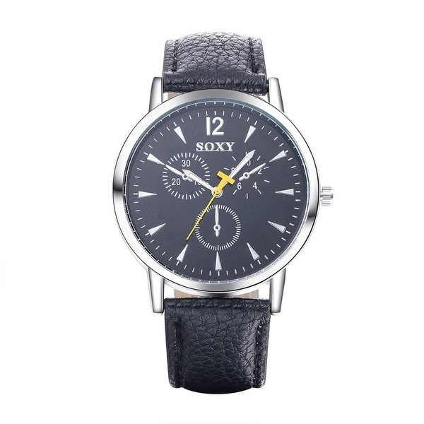 Black Faux Leather Switzerland Inspired Watch - Blue