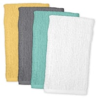 """Set of 4 Vibrantly Colored Stripe Pattern Indoor Dish Towels 28"""" x 18"""" - multi"""