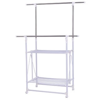 Gymax Double Rail Garment Rack Folding Adjustable Rolling Clothes