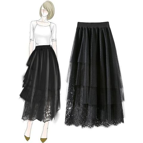 Lace Stitching Mesh Multilayer Irregular Skirt