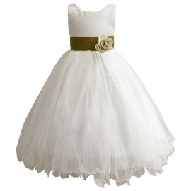 Wedding Easter Flower Girl Dress Wallao Ivory Rattail Satin Tulle (Baby - 14) Green Olive