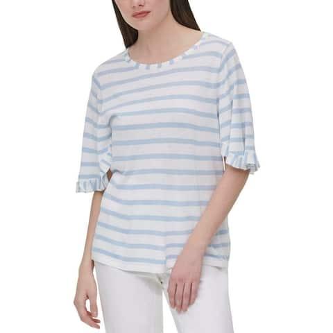 Calvin Klein Womens Knit Top White Size Small S Stripe Flutter-Sleeve