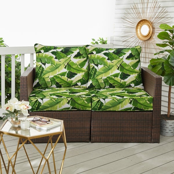 Green Indoor/ Outdoor Deep Seating Pillow and Cushion Loveseat Set. Opens flyout.
