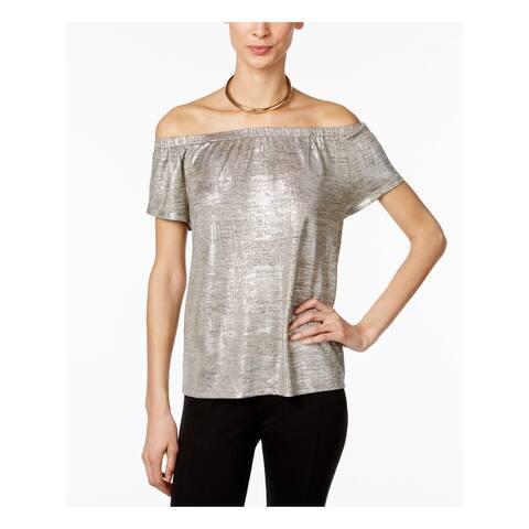 INC Womens Silver Metallic Short Sleeve Off Shoulder Top Size S