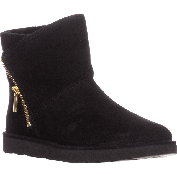 UGG Kip Sherling Lined Zipper Short Winter Boots, Black