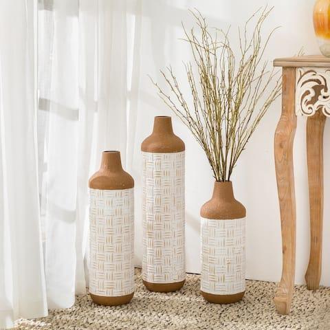 Glitzhome Set of 3 Boho Farmhouse Decorative Table/Floor Metal Vases