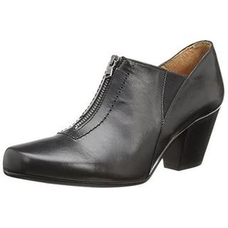 Fidji Womens Leather Round Toe Booties