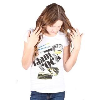 Lori&Jane Girls White Graphic Print Glam Rock Short Sleeve Top