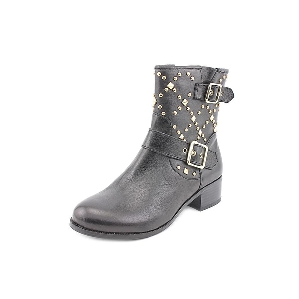 INC International Concepts Wenda Women  Round Toe Leather Black Ankle Boot