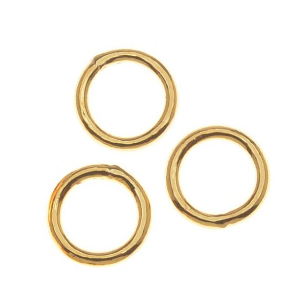 22K Gold Plated Closed Jump Rings 6mm 19 Gauge (50)