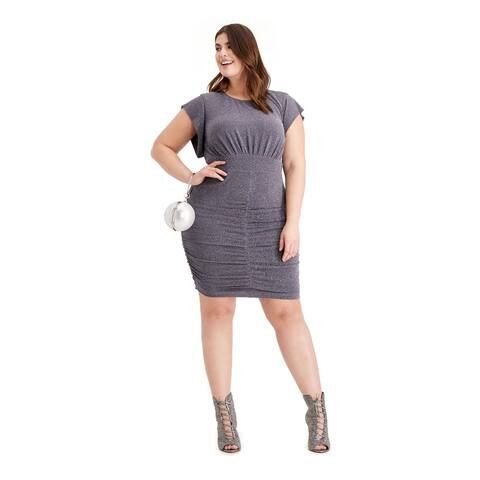 VINCE CAMUTO Gray Short Sleeve Above The Knee Dress 22W