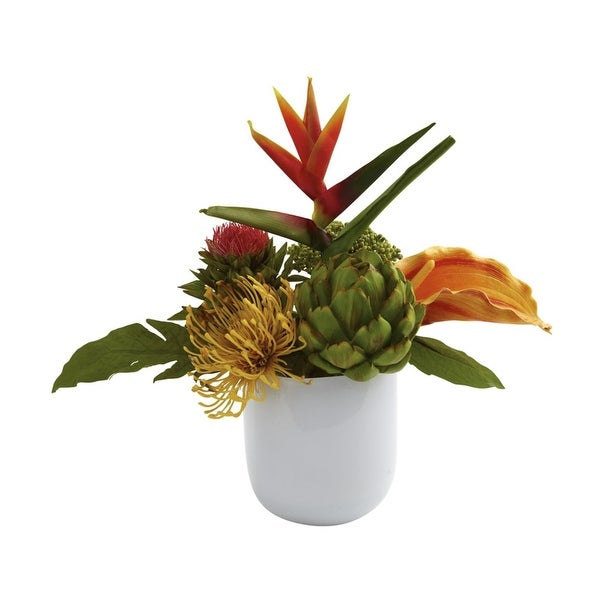 Nearly Natural Tropical Floral Arrangement with Glass Vase - White