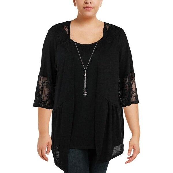 NY Collection Womens Plus Dress Top Lace Bell Sleeve