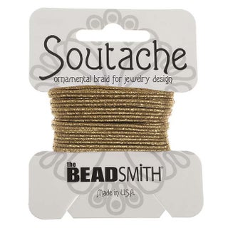 BeadSmith Textured Metallic Soutache Braided Cord 3mm Wide - Matte Gold /3 Yards