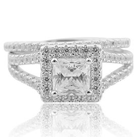Princess Cut Wedding Ring Set Art Deco Style 2pc Wedding Set Sterling Silver With CZ