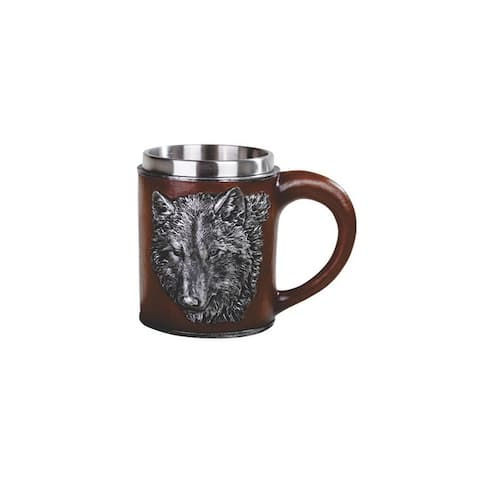 "5.75"" W Red mug with wolf pattern"