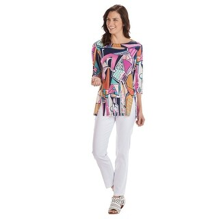 Women's Cubist Art Tunic Top - 3/4 Sleeve, Peek-a-Boo Neckline, Bright Colors - MultiColor