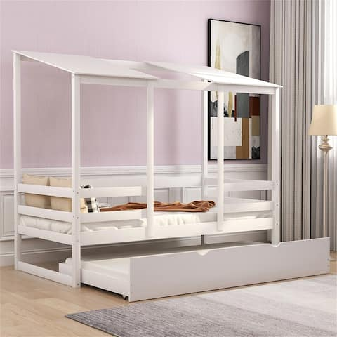Kids Beach House Bed with trundle Twin Size (white)